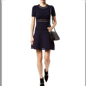 SANDRO fitted knit midi little dress black